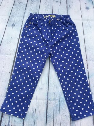 Mini Boden blue and white polka dot 3/4 length trousers age 6-7